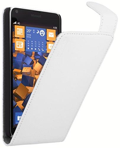 mumbi Tasche Flip Case kompatibel mit Microsoft Lumia 640 Hülle Handytasche Case Wallet, weiss