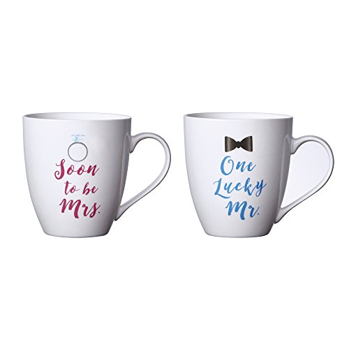 Pfaltzgraff Everyday Mug, Soon to be Mrs. and One Lucky Mr., 18-Ounce, Set Of 2