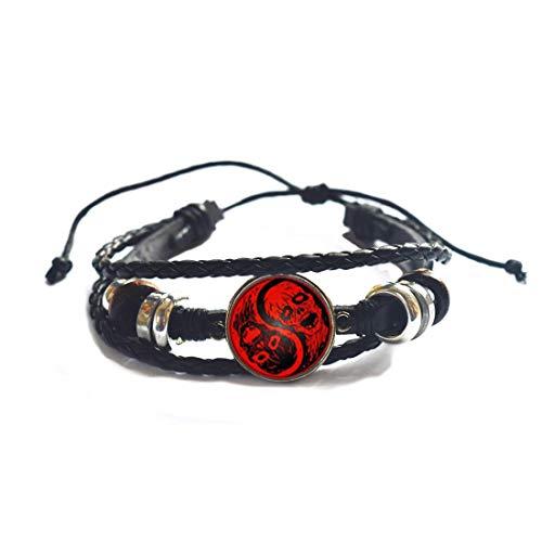 Pulsera de cadena de calavera Tai para mujer, brazalete de cabujón, pulsera de declaración para hombres, joyería de estilo chino, PU273