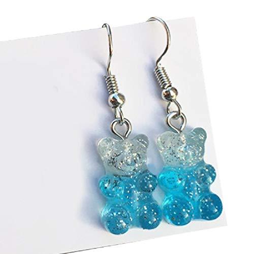 1 Pair Fashion Lovely Colorful Cartoon Sweet Bear Resin Dangle Drop Earrings Charms Ear Danglers Women Jewelry Gifts Teen