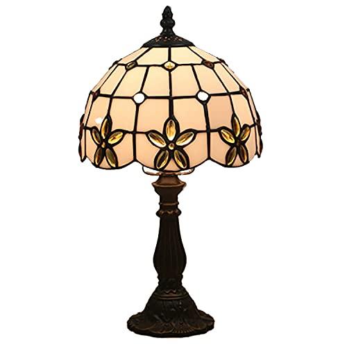 ADM6 Tiffany-Stil Tischlampe, Kreative Tischlampe Mit Buntglas-Lampenschirm Und Antikfarbenem Harzsockel, Verwendet Im Kinderzimmer-Schlafzimmer-Kinderzimmer-Korridor Im Wohnzimmer,Gold,Resin Base