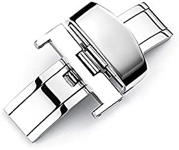 Nice Pies Stainless Steel Push Button Automatically Open Double Push Button Butterfly Deployment Buckle Clasp Watch Accessories Buckle Leather Strap Buckle (20mm)