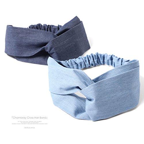 [エムエイチエー]M.H.A.styleヘアバンドレディース(クロス)カチューム無地シンプルターバン21100B.ネイビー(紺色藍色)