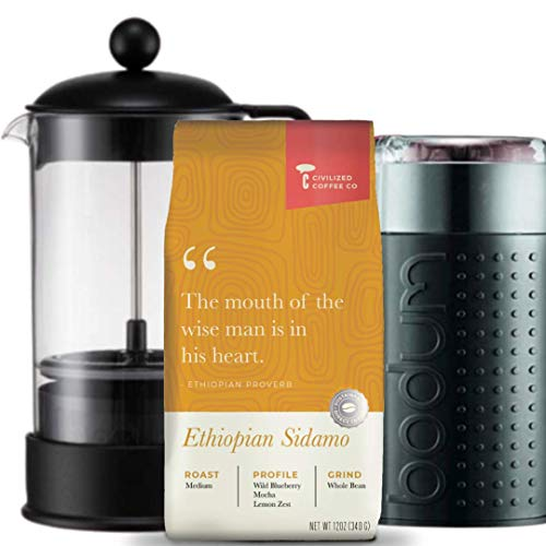 Civilized Coffee Ultimate Coffee Gift Box with Coffee Grinder, French Coffee Press and Ethiopian Sidamo Whole Bean Coffee