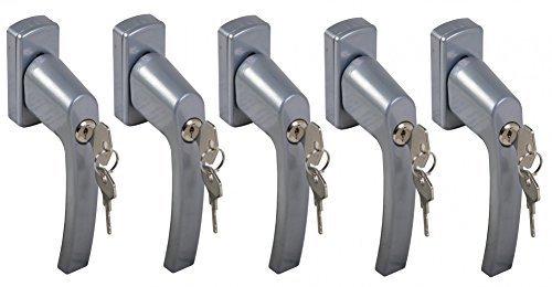 BURI 5X Fenstergriff abschließbar Sicherheitsfenstergriff Kindersicherung Silber Set