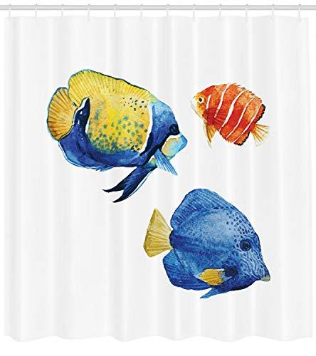 123456789 Visdouchegordijn Tropische Accenten Aquarium Print voor Badkamer
