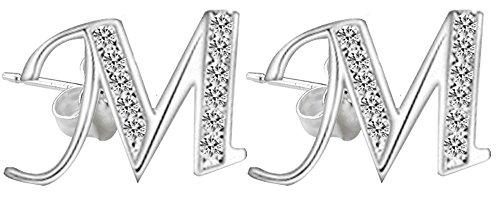 Orecchini a forma di lettera dell'alfabeto, in argento, con diamanti sintetici, standard di alta gioielleria, lettera a scelta