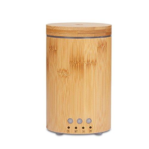 Difusor de Aceites Esenciales, 150ml Real Bambú Humidificador Difusor Ultrasónico con Luz LED con 7 Colores y 4 Ajustes de Tiempo, Para Hogar, Oficina, Dormitorio y Baño, etc.