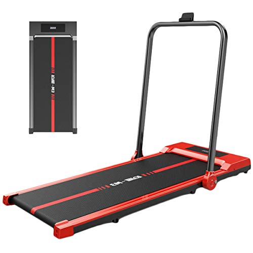 PYapron Manual Walking Treadmill, Folding Multifunctional Version of Shock-Absorbing Mechanical Treadmill with LCD Screen for Home Gym Fitness Workout Jogging, Best Option for Exercising at Home,Red