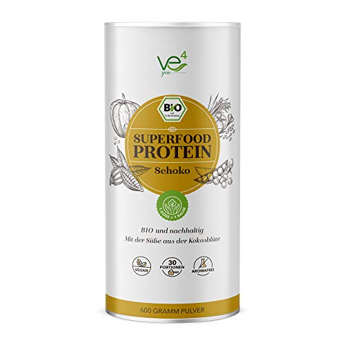 SALE! Ve4you BIO Superfood Protein Shake Vegan 600g | 100% Natürlich | veganes Bio-Proteinpulver mit regionalen Superfoods | natural Schoko - 600gr | Jede Dose 1 Baum