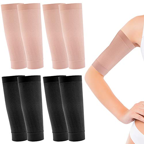 4 Pair Arm Slimming Sleeves, WXJ13 Arm Slimming Shaper Wrap Arm Shapers for Women and Girls, Beige and Black