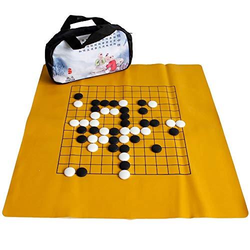 FunnyGoo Juego de ajedrez Go con 169 exquisitas Piedras de cerámica en bolsitas de Tela + Cuero Go Board + una Bolsa de Transporte