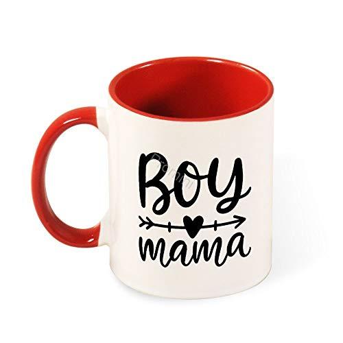 Promini Keramik Neuheit Becher,BJ-665 Boy Mama Dekorative Becher,Kaffeetasse,Lustige Kaffeetasse,Bestes Geschenk FüR Familie/Freund,Einzigartiges Geburtstagsgeschenk,11oz Zweifarbige Rote Tasse