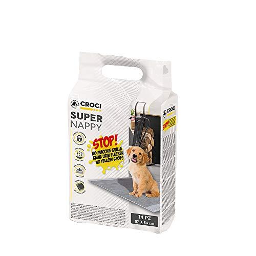 CROCI SUPER NAPPY, Tappetino Ultra Assorbente con Carbone Attivo, Anti Odore, Anti Macchia, Set di 14 unità, Formato 57x54