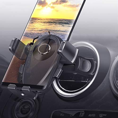 Kaome Supporto Rotondo per Cellulare da Auto, con Doppia Staffa Inferiore, per iPhone Xr/XS/X/8/7, Samsung Galaxy S9/S8/S7, Huawei P20 PRO