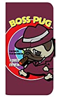 [BASIO4] スマホケース 手帳型 ケース デザイン手帳 ベイシオ4 8320-C. BossPug02ワインレッド かわいい 可愛い 人気 柄 ケータイケース ヌヌコ 谷口亮