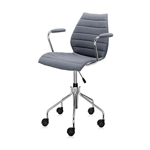 Kartell Maui Soft Bürostuhl mit Armlehnen, grau Stoff Trevira höhenverstellbar 49-57cm mit Gasdruckfeder