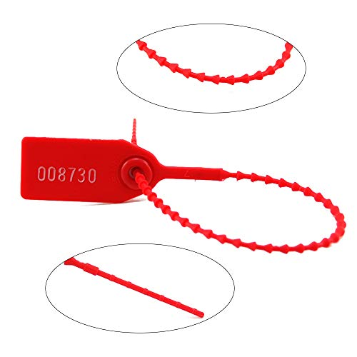 100 Plastic Tamper Seals, Numbered Zip Ties for Fire Extinguisher Pull Tite Security Tags Disposable Self Locking Signage 250mm (Red)