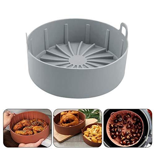 ExH Freidora aire silicona para freidora de aire, cesta de repuesto para alimentos, freidoras de aire accesorios – no más cesta de limpieza dura después de usar la freidora (gris, L)