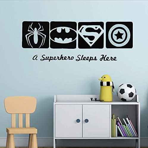 Spiderman Batman Capitán América Superhéroe pegatina de pared vinilo arte diseño niños dormitorio cartel mural bebé niños calcomanías decoración 57 * 21 cm