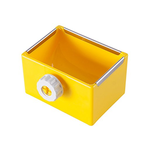 ZOOPOLR Cage Feeder Food & Water Hay Bowl Dish Bin Feeder, Small Animal Supplies for Rabbit Guinea Pig Chinchilla Hamster Ferret (Yellow)