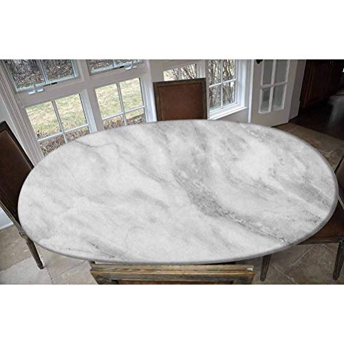 LCGGDB Elastic Polyester Fitted Table Cover,Marble Surface Textured Hazy Cracks and Veins Shady Limestone Ceramic Artful Print Oblong/Oval Dinner Fitted Table Cloth,Fits Tables up to 48' W x 68' L