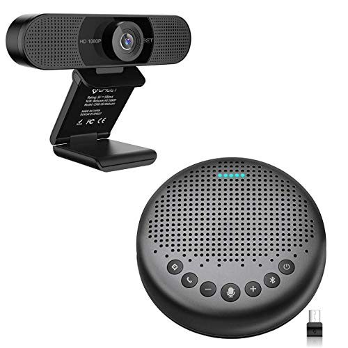 Home Office Set from Bluetooth Speakerphone Luna + 1080P HD Streming Webcam C960, Computer Speakers with Microphone, Plug and Play Webcam Idea for Home Office