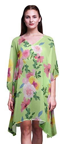 Bimba Watercolor BeachKaftan Bikini Cover up Women's Midi Dress Short Caftan-4X-5X Light Green