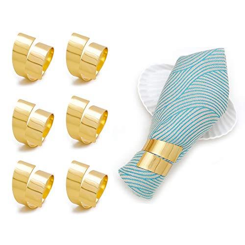 6 Stück Goldenen Serviettenring Sätzen, Moderne Bankett Serviettenhalter aus Metall für Hochzeits/Bankett/Jubiläum/Party/Geburtstags/Festival/Tauftischdekoration