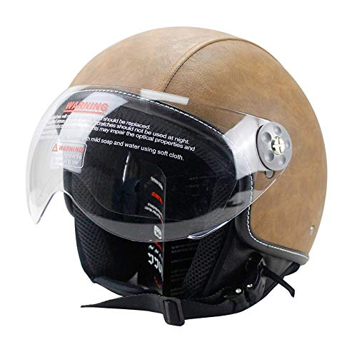 Woljay Leather Motorcycle Vintage Half Helmets Motorcycle Biker Cruiser Scooter Touring Helmet (XL, Brown)