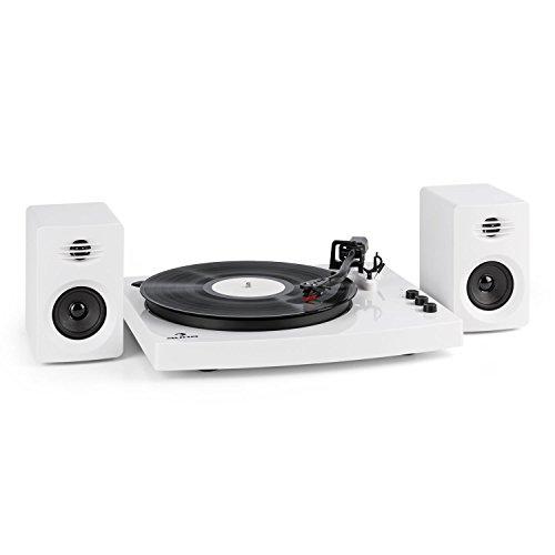 auna TT-Play - draaitafelset, draaitafel, 2 stereoluidsprekers, keramische pick-up, toonhoogteregeling, 33 1, 3 en 45 toeren, Bluetooth 4.2, wit