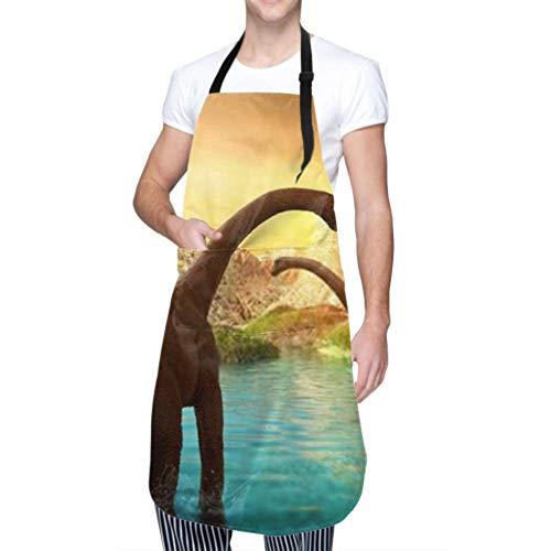 ZANSENG Unisex Schürze, wasserdicht langlebig verstellbar 3D Fantasy Landschaft Dinosaurier gerendert Berge Kochschürzen Kochschürze Frauen für Geschirrspülen Grill Grill Restaurant Garten