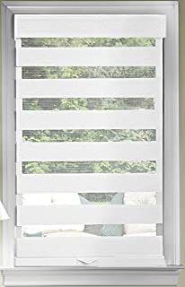 PowerSellerUSA Cordless Zebra Blinds Roller Shade, Celestial Sheer Double Layered Window Shade Privacy Light Control, Day and Night Window Drapes, 36