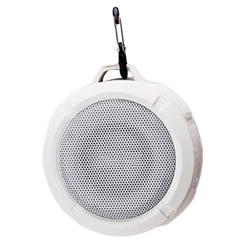 Enceinte sans Fil Portable Bluetooth avec Appel Mains Libres Crochet Ventouse étanche avec Carte TF Haut-parleurs pour la Salle de Bains de Voyage de Téléphone Portable de PC,Blanc
