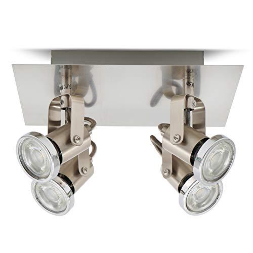 B.K.Licht plafonnier LED 4 spots orientables I 4X5W I GU10 I 230V | IP20 I spots plafond LED salon salle à manger chambre cuisine couloir