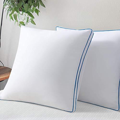 LUTE - Cuscini 60 x 60 cm, morbidi e gonfianti, cuscini antiacaro, imbottitura in fibra cava, 2 cuscini traspiranti e voluminosi, ipoallergenici e anti sudore