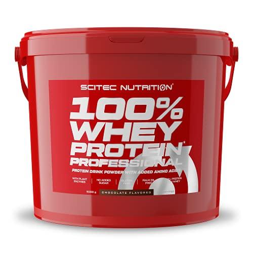 Scitec Nutrition 100% Whey Protein Professional mit extra zusätzlichen Aminosäuren und Verdauungsenzymen, glutenfrei, 5 kg, Schokolade