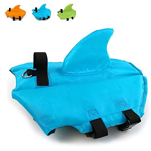 Snik-S Dog Life Jacket- Preserver with Adjustable Belt, Pet Swimming Shark Jacket for Short Nose Dog (Pug,Bulldog,Poodle,Bull Terrier,Labrador) (XS, Blue)