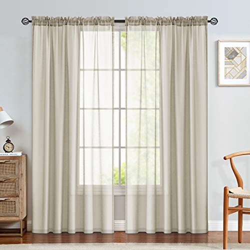 jinchan Sheer Curtains 84 inches Long for Living Room Rod Pocket Sheer Window Curtain Panels for Bedroom Voile Curtain Set 1 Pair Nature