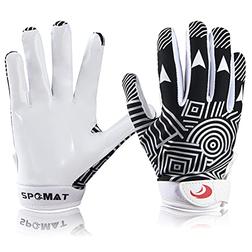 SPOMAT Youth Football Gloves Kids Silicone Grip Receiver Gloves with Super Stick Ability for Best Game Experience, Rocket Black XS/S