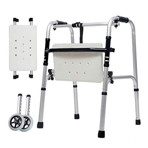 Lianganan Muletas Walker ancianos discapacitados de aluminio doble pasamanos a pie Tableros de baño ruedas auxiliares miembros inferiores Cuatro pies 47cm x 52cm x 73cm antideslizante bastón con el Ho
