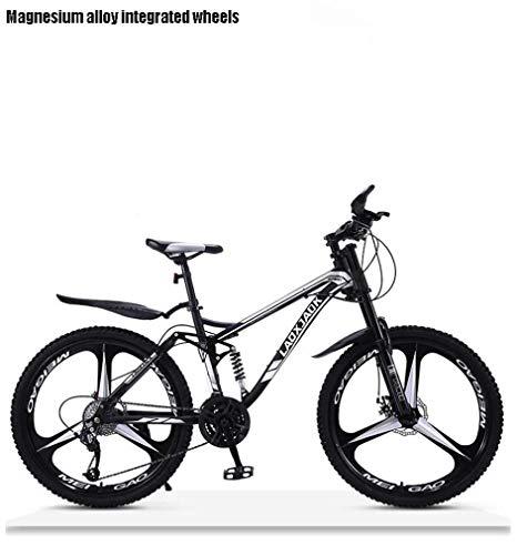 Adulti Downhill Mountain Bike, Biciclette Doppio Freno a Disco off-Road Neve, ad Alta Acciaio al Carbonio Telaio Beach Biciclette, 24 Pollici Ruote,Nero,30 Speed