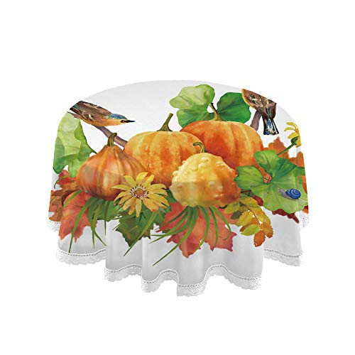 SUPNON Round Tablecloth with White Lace Watercolor Thanksgiving Composition with Kitchen Dinning Tabletop Decoration Premium Round Tablecloth Durable (60 Inch) Style-167