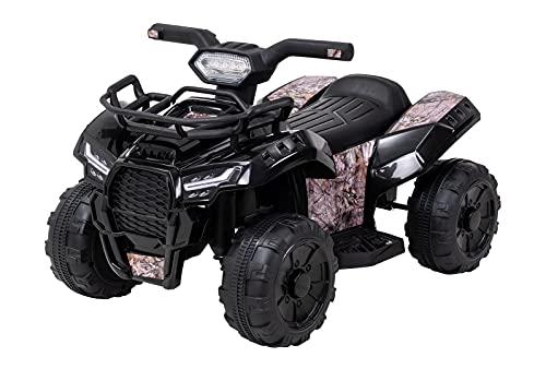 Actionbikes Motors Coche eléctrico para niños Quad Jumpy – Motor de 18 W – Batería de 6 V 4 Ah – Freno automático – Faros LED – Conexión USB & AUX (camuflaje)
