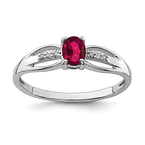 925 Sterling Silver Rhod Plated Diamond Created Red Ruby Band Ring Size 8.00 Birthstone July Gemstone Fine Mothers Day Jewelry For Women Gifts For Her