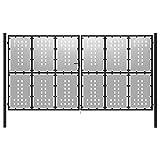 vidaXL Cancello per Giardino a Rete con Serratura e Maniglie Stabile Durevole Ingresso Porta Recinzione in Acciaio Zincato 400x175 cm Argento