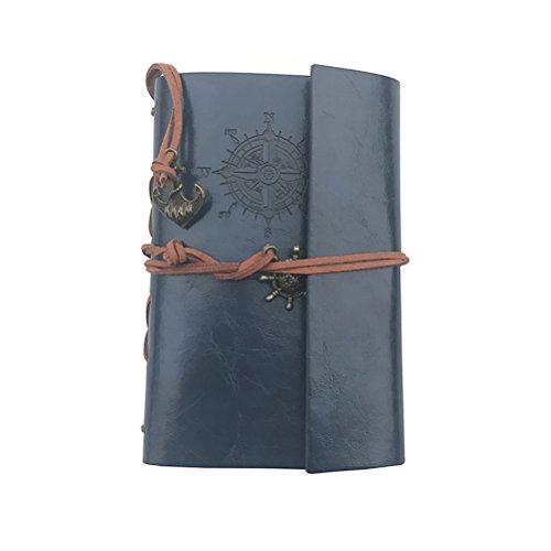NUOLUX Retro Vintage Pirate Cuaderno,PU Cuero Libreta Bonitas Hojas Blancas Cuaderno de Viaje Bloc Notas Diario de viaje Jotter,cadena suelta String Bound (Azul oscuro)