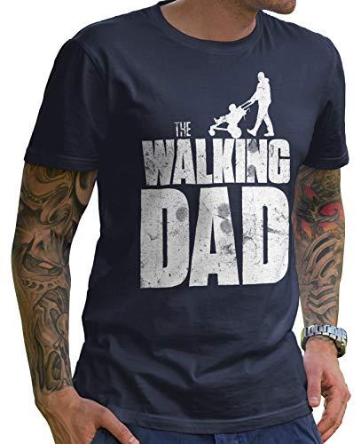 Stylotex Lustiges Herren Männer T-Shirt Basic | The Walking Dad | Geschenk für werdende Papas, Größe:M, Farbe:Navy