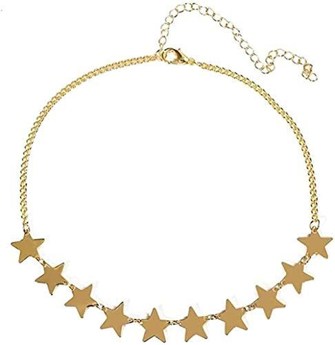 ZPPYMXGZ Co.,ltd Collar de Moda para Mujer, Collar de Gargantilla de Estrella sólida de Color Simple, Collar de Cadena, joyería llamativa