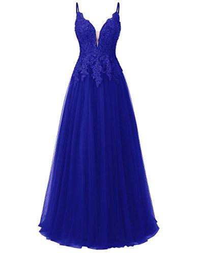 Carnivalprom Damen Spitze Abendkleider Für Hochzeit Elegant Brautkleid Spaghetti-Träger Ballkleider(Königsblau,42)